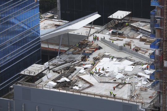 MIAMI - SEPTEMBER 9: Aerial image of Brickell City Center nearing completion which is a mixed use development located at SW 8th Street September 9, 2015 in Brickell FL, USA