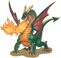 Muscular Dragon Breathing Fire Vector Illustration