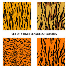 Set of four tiger seamless textures