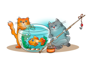 Funny cats catch goldfish from the aquarium on white background