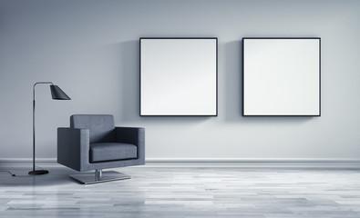 Raum mit zwei Bildern und Sessel