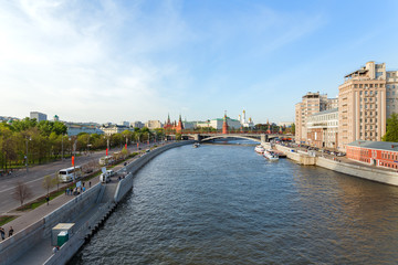 Panorama view of Moscow - Moscow-river, Kremlin. Russia.