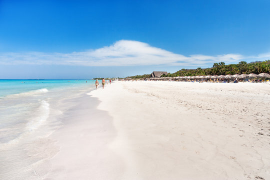 Soft wave of the sea on the sandy beach. Varadero, Cuba.