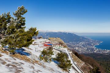Panorama view of Yalta town from Ai-Petri mountain. Crimea, Russia.
