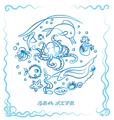 Sea life - ink paint sea animal vector illustration. Blue outline drawing - marine life. Graphic. Dolphin, octopus, jellyfish, seahorse, starfish. Delft blue, sea background, sea frame. On white.