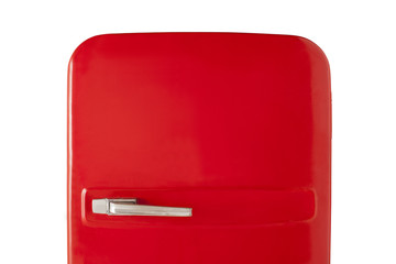 Red vintage refrigerator isolated on white background