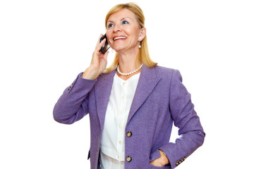 Happy and smile senior woman 60-65 years old with white teeth talking on her cell phone. Isolated white background, Positive human emotion, facial expression