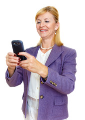 Happy and smile senior business woman 60-65 years old in suit read and write sms on cell mobile smart phone. Isolated white background, human emotion, facial expression