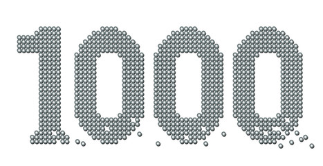 THOUSAND - composed of exactly counted one thousand iron balls, some are rolling away - isolated vector illustration on white background.