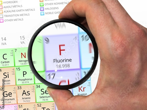 Fluorine Symbol F Element Of The Periodic Table Zoomed With M