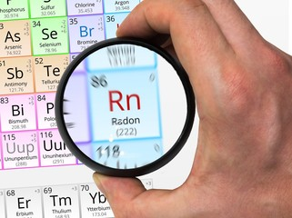 Radon symbol - Rn. Element of the periodic table zoomed with mag