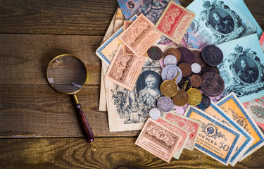 Old Russian money and medals.