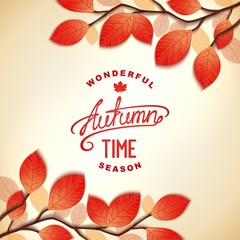Autumn wonderful time background design with lettering. Vector eps 10