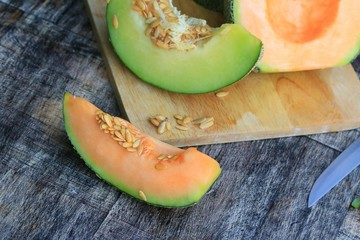 mix fresh green and orange melon