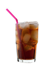 Cola with Ice and Straw, isolated