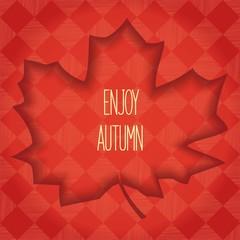 Volumetric maple leaf with shadow inside. Autumn design element. Vector eps 10