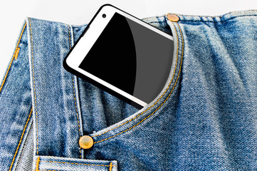 mobile phone in pocket with black screen