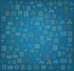 Social network with media icons background, vector illustration