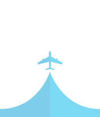 white silhouette of airplane, isolated on blue Flat icon modern