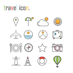 Line icons, Tour planning, recreational rest, holiday trip for l