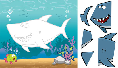 Vector Illustration of Education Jigsaw Puzzle Game for Children with Shark