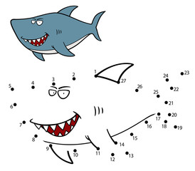 Vector Illustration of Education dot to dot game Shark