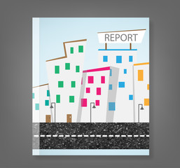 report urban landscape and road, vector illustration