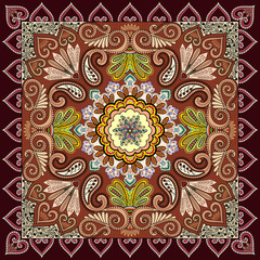 bandanna with colorful, openwork design, decorated with paisley