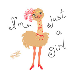 Fashionable ostrich chick. T-shirt design vector illustration