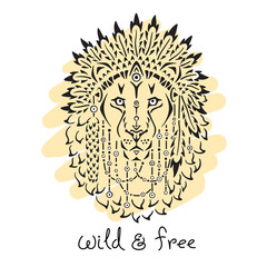 Lion in war bonnet, animal illustration, native american poster