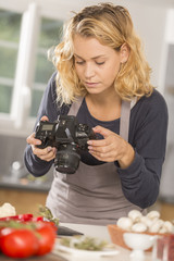 Food blogger, young women photographing food
