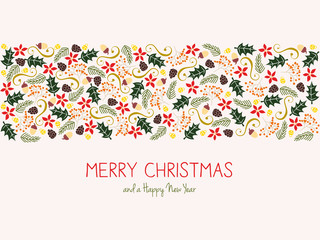 Merry christmas greeting card with banner made with elements. Vector design.