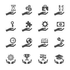 business and finance hand icon set 2, vector eps10
