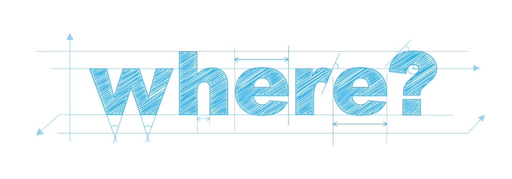 """""""WHERE?"""" Vector Overlapping Letters Icon"""