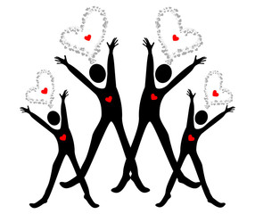 Giving love-Group of people holding heart- love Concept