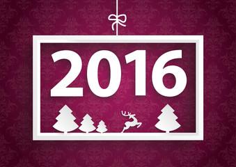 White Frame Purple Ornaments 2016