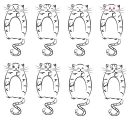 illustration with funny cats which express different emotions.