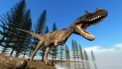 Ceratosaurus dinosaur at the shoreline - 3D render