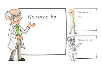 High Quality Scientist Cartoon Character with Welcoming Arms Include Flat Design and Line Art Version