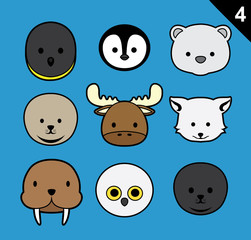 Flat Animal Faces Stroke Icon Cartoon Vector Set 4 (Arctic)