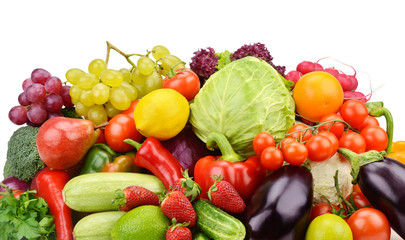 fruits and vegetables isolated on white background