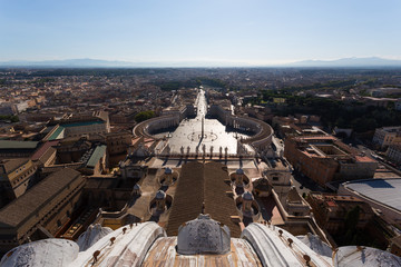 View from St. Peters Cathedral on St. Peter Square, Rome, Italy