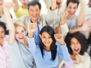 Group of People Community Celebration Success Concept
