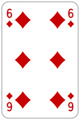 Poker playing card 6 diamond