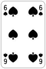 Poker playing card 6 spade