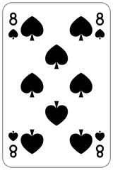 Poker playing card 8 spade