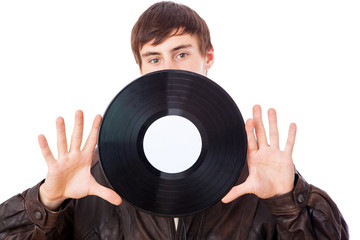 Man with music LP
