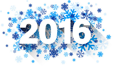 2016 paper sign over snowflakes.