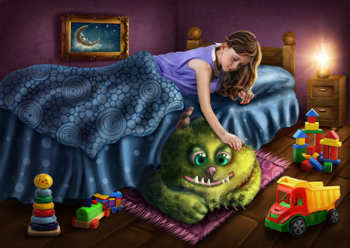 Green monster under the bed
