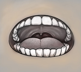 Oral health concept. Mouth close up gray image. Digital background raster illustration.